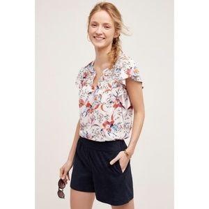 Meadow Rue Floral Flutter Sleeve Shirt Size M